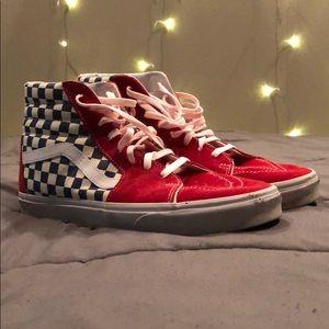 Vans High Top Checkered True Blue Red Sneaker